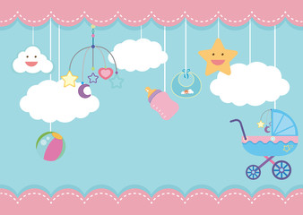Background template with kid items