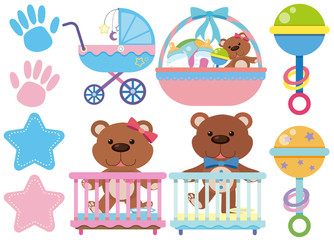Baby toys and accessories on white background