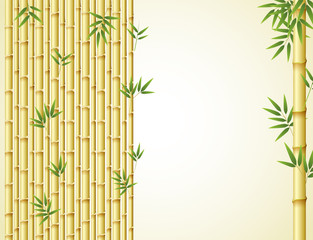 Background design with golden bamboo and green leaves