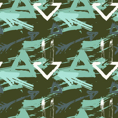 Seamless pattern with colorful grungy arrows