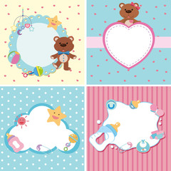 Four background templates with baby theme