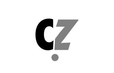 Fototapeta cz c z black white grey alphabet letter logo icon combination obraz