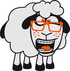 nerd geek hornbrille schlau klug freak zahnspange lamm baby lustig klein süß niedlich comic cartoon schaf ziege wolle bauer bock müde cool