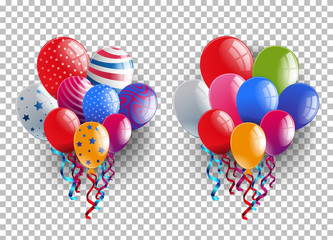 Two bunches of colorful balloons on transparent background