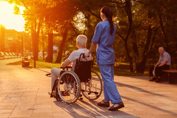 Nurse and old man who sits in a wheelchair watching the sunset in the park
