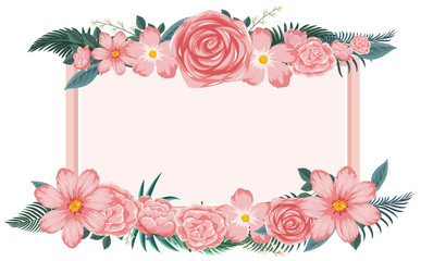 Flower frame with pink flowers