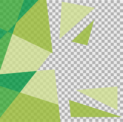 Different shades of green triangle on transparent background