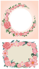 Two designs of border with pink roses