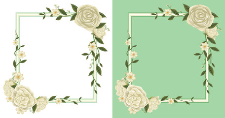 Two frames with white roses on border
