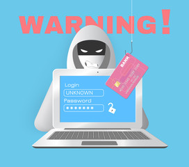 Hacker with computer and credit card
