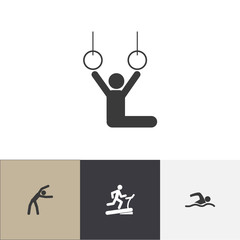 Set Of 4 Editable Training Icons. Includes Symbols Such As Acrobat, Exercise, Racetrack Training And More. Can Be Used For Web, Mobile, UI And Infographic Design.