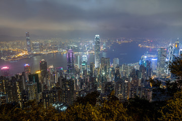 Hong Kong's famous skyline viewed from above from the Victoria Peak at night.