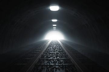 Dunkler Tunnel von Bahn mit Gleisen und Licht am Ende des Tunnels. 3d Rendering