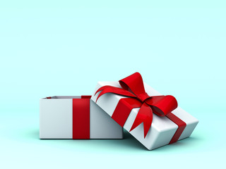 Open gift box and present box with red ribbon bow on cyan background with shadow . 3D rendering.