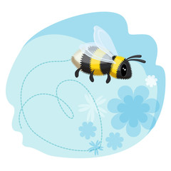 Cute bumblebee leaves trace in shape of heart, blue background