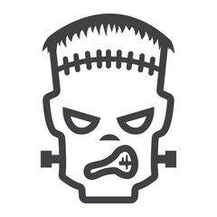 Frankenstein line icon, halloween and scary, horror sign vector graphics, a linear pattern on a white background, eps 10.
