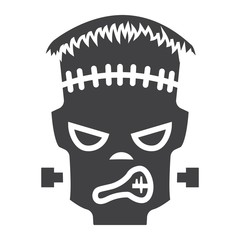Frankenstein glyph icon, halloween and scary, horror sign vector graphics, a solid pattern on a white background, eps 10.