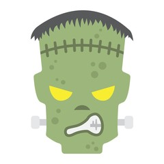 Frankenstein flat icon, halloween and scary, horror sign vector graphics, a colorful solid pattern on a white background, eps 10.