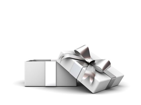Open gift box or present box with silver ribbon bow isolated on white background with shadow . 3D rendering.
