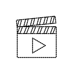 dotted shape clapperboard with video movie studio icon