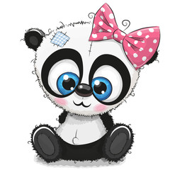 Cute Cartoon Panda girl on a white background