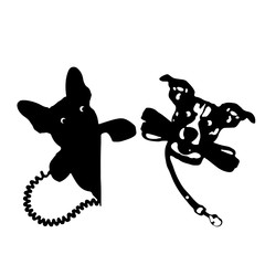 Silhouette of a dog holding a leash and a telephone receiver, on a white background.