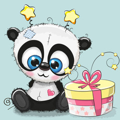 Greeting card cute Panda with gift
