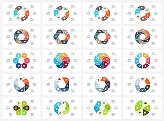 Vector circle arrows infographic, cycle diagram, graph, presentation chart. Business concept with six options, parts, steps, processes. 16x9 slide templates bundle.