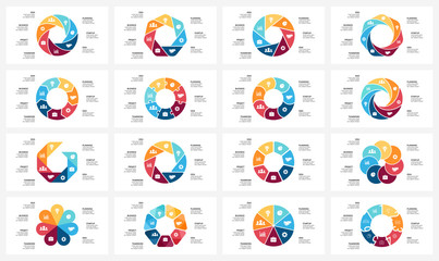 Vector circle arrows infographic, cycle diagram, graph, presentation chart. Business concept with 7 options, parts, steps, processes. 16x9 slide templates bundle.
