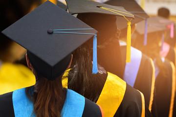 Graduates in university degree graduation.