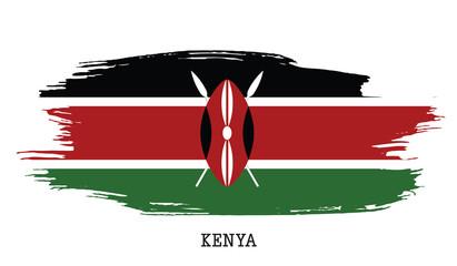 Kenya flag vector grunge paint stroke