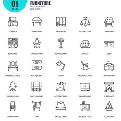 Simple Set of Furniture Related Vector Line Icons. Contains such Icons as Bookcase, Office Chair, Lamp, Couch, Desk, Bedside Table, Wash-stand and more. Editable Stroke. 48x48 Pixel Perfect.