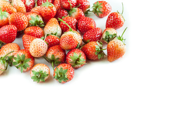 Group strawberries on white background