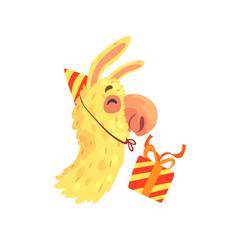 Funny llama character wearing party hat with gift box, cute alpaca animal cartoon vector Illustration