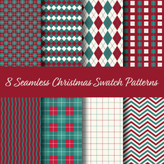 Christmas Seamless Swatch Pattern Vector. Select colour theme and pattern from swatch panel in Illustrator. Merry Christmas and Happy New Year!