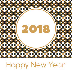 Happy New Year 2018 banner template vector. Print with abstract modern geometric pattern. Golden holiday background. Season design for web shopping sale, party invitation card, gift tag or label.