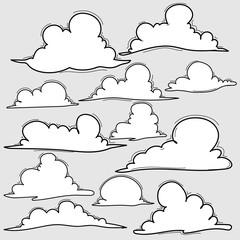 Hand Drawn Clouds Set.