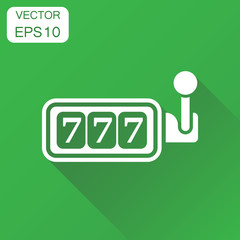 Casino slot machine icon. Business concept 777 jackpot pictogram. Vector illustration on green background with long shadow.