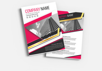 Brochure Cover Layout with Red and Gold Accents 1