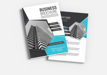 Brochure Cover Layout with Blue and Gray Accents 5