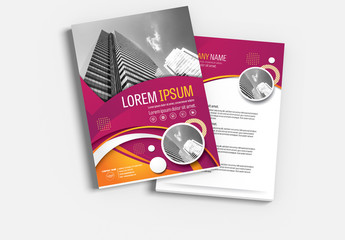 Brochure Cover Layout with Purple and Orange Accents 1