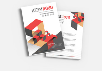Brochure Cover Layout with Red and Brown Accents 1