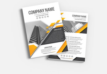 Brochure Cover Layout with Gray and Orange Accents 22