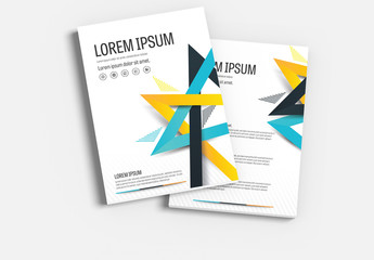 Brochure Cover Layout with Yellow and Teal Accents 1