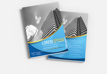 Brochure Cover Layout with Blue and Gold Accents 2