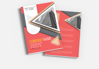 Brochure Cover Layout with Yellow and Dark Pink Accents 1