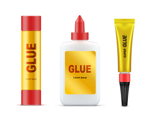 Different types of branded glue tubes with gold label and red cap realistic vector set isolated on white background. Paper glue stick, stationery liquid glue and super glue template, product mockup