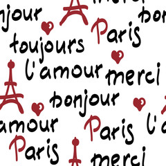 vector seamless pattern with handwritten french words. brush calligraphy.  Paris, toujours l'amour, merci, bonjour words.