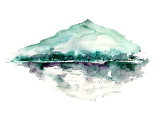 Watercolor drawing with a mountain landscape, a river, a forest and a reflection in the water. The peak of the mountain, the rock, the canyon. On white isolated background. Postcard, picture, logo.