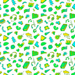 Abstract seamless pattern with many items. Background with different objects.